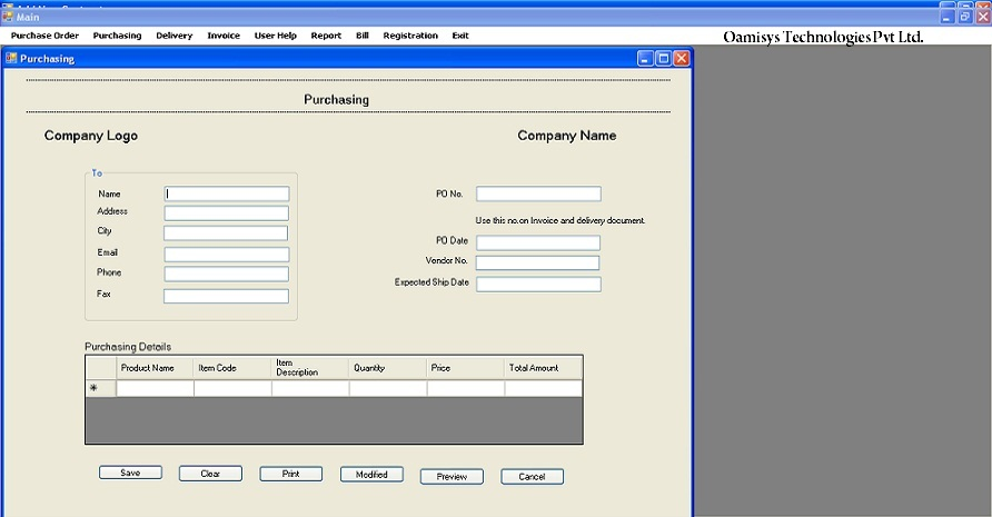 ERP Purchase Order